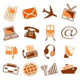 Telecomunicaciones y iconos del transporte Foto de archivo