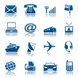 Telecomunicaciones y iconos del transporte Foto de archivo libre de regalías