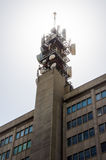 Telecomunication tower. A telecomunication tower with several dishes Stock Photo