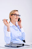 Telecomunications kvinna Arkivfoto
