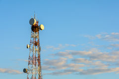 Telecomunications tower in sunset light. Royalty Free Stock Photo