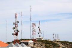 Telecomunicazione e radar vicino a Foia, Portogallo Fotografia Stock Libera da Diritti