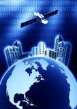 Telecomunicazione via satellite Fotografie Stock Libere da Diritti
