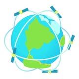 Telecomunicazioni via satellite intorno all'icona del mondo Fotografie Stock