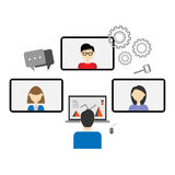 Teleconference. Meeting communication with partnership Royalty Free Stock Photo