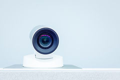 Teleconference, video conference and telepresence camera. Teleconference, video conference and  telepresence camera Royalty Free Stock Photos