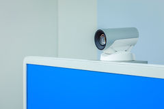Teleconference, video conference or telepresence camera with blu. E screen display Royalty Free Stock Photography
