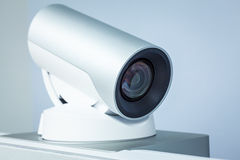 Teleconference, video conference or telepresence camera closeup. For any use Royalty Free Stock Images
