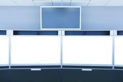 Teleconferentie en telepresence het schermvertoning Stock Afbeeldingen