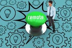 Telecontrol contra el botón verde digital generado Fotos de archivo libres de regalías