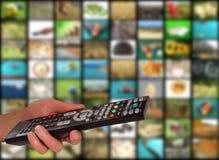 Telecontrol y televisión imágenes de archivo libres de regalías