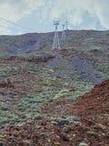 Teleférico à parte superior de Pico del Teide em Tenerife fotos de stock