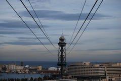 Teleférico acima do porto de Barcelona imagem de stock royalty free