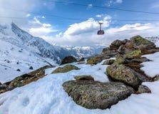 Teleférico de Aguille Du Midi, Mont Blanc, France Fotografia de Stock Royalty Free
