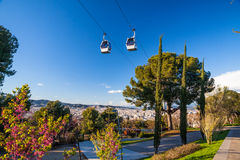 Teleférico de Barcelona Montjuic Imagen de archivo libre de regalías