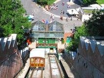 Teleférico de Budavari Siklo, pessoa, turistas em Budapest fotografia de stock royalty free