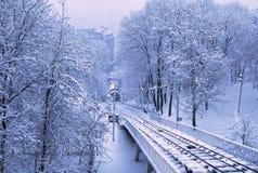 Teleférico de Kiev no parque coberto de neve fotografia de stock