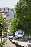 Teleférico de Kievan ou bonde do cabo na operação Fotografia de Stock