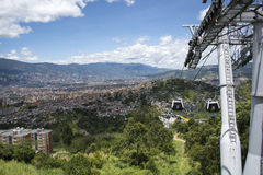 Teleférico de Medellin Colômbia fotografia de stock