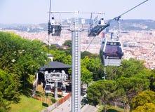 Teleférico de Montjuic imagen de archivo libre de regalías
