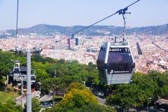 Teleférico de Montjuic imagen de archivo