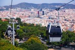 Teleférico de Montjuic en Barcelona imágenes de archivo libres de regalías