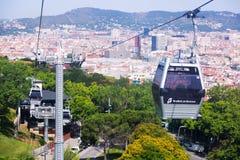 Teleférico de Montjuic en Barcelona fotografía de archivo