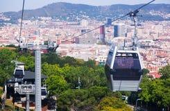 Teleférico de Montjuic en Barcelona fotos de archivo libres de regalías