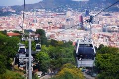 Teleférico de Montjuic en Barcelona, España imagen de archivo