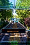 Teleférico de Montmartre que vai a Sacre Coeur Fotografia de Stock