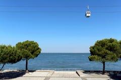 Teleférico de Parque das Nações (lugar de la expo 98). Lisboa, Portugal. Imagen de archivo