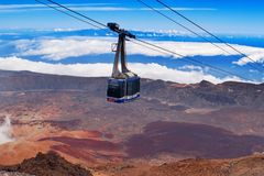Teleférico de Teleferico, Volcano Pico del Teide National Park, Espanha foto de stock royalty free