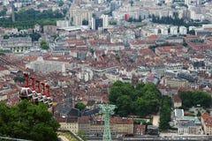 Teleférico do Bastille de Grenoble em França fotografia de stock
