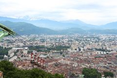 Teleférico do Bastille de Grenoble, França imagens de stock royalty free