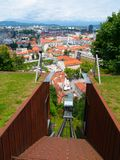 Teleférico do castelo de Ljubljana Imagens de Stock
