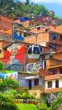 Teleférico e grafittis nos precários de medellin, Colômbia imagem de stock royalty free