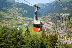 Teleférico em Grindelwald, cantão de Berna, Switzerland Fotos de Stock Royalty Free