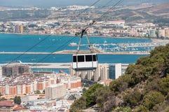 Teleférico en la ciudad de Gibraltar Imagen de archivo libre de regalías