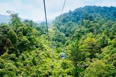 Teleférico en la selva tropical (montañas de Genting, Malasia) fotos de archivo