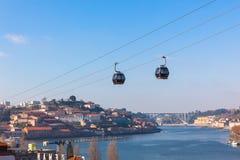 Teleférico en Oporto, Portugal Imagen de archivo libre de regalías