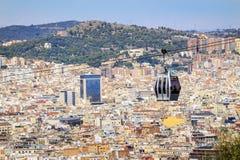 Teleférico a la colina de Montjuic, Barcelona, España Imagen de archivo libre de regalías