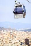 Teleférico a la colina de Montjuic, Barcelona, España Fotos de archivo