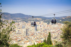 Teleférico a la colina de Montjuic, Barcelona, España Imágenes de archivo libres de regalías