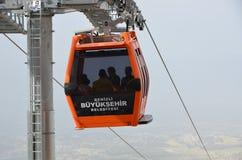 Teleférico a la meseta de Bagbasi del cente de la ciudad de Denizli Imágenes de archivo libres de regalías