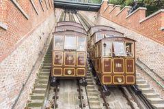 Teleférico modular de las cabinas en la colina del castillo en Budapest, Hungría Imagen de archivo libre de regalías