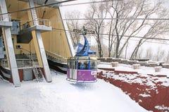 Teleférico na montagem do Kok-tubo, Almaty, Cazaquistão Imagens de Stock Royalty Free