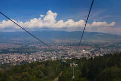 Teleférico na montanha de Vodno Foto de Stock