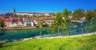 Teleférico no banco do rio de Aare em Berna, Suíça Imagens de Stock