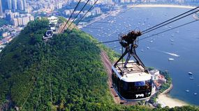 Teleférico Rio De janeiro Brazil da montanha de Sugarloaf fotografia de stock