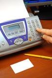 Telefaxmaschine und -Visitenkarte stockfotografie